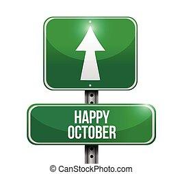 happy october sign illustration design