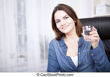 Happy Office Woman Holding a Glass of Water