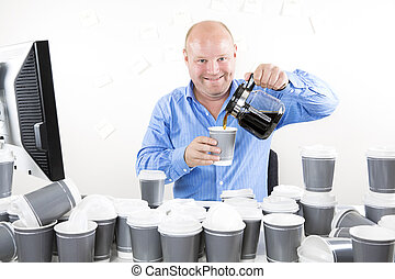 Happy office worker drinks too much coffee