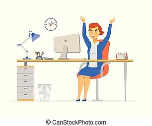 Happy office worker - modern cartoon people characters...