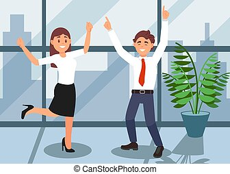 Happy office workers celebrating achievement of victory. Green plant in flowerpot and big window with cityscape on background. Flat vector design