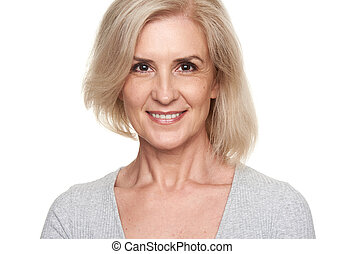 happy old blonde woman smiling. Isolated