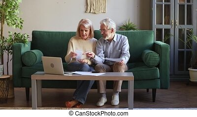 Happy old couple calculating domestic bills at home with...