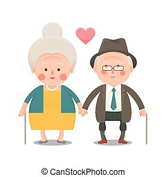 Happy Old Couple Holding Hands