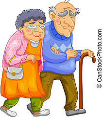 happy old couple - old couple walking together