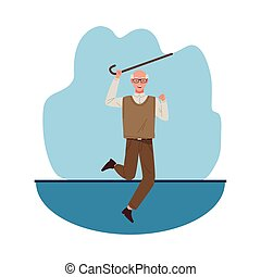 happy old man celebrating with cane chararacter