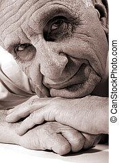 Happy old man - Portrait of happy grandfather. Sepia