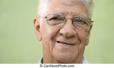 Happy old people, elderly man smile