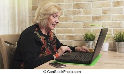 Happy old woman using a laptop computer