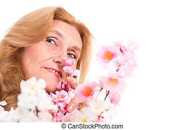 happy old woman with flowers