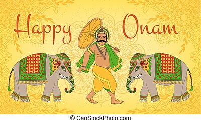 Happy Oman. King Mahabali. Greeting card for South Indian...