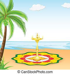 Happy Onam background - easy to edit vector illustration of...
