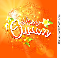 Happy Onam background with floral and lettering for South ...