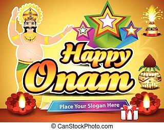 happy onam background with king mahabali