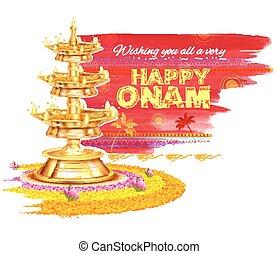 Happy Onam background with rangoli and lamp - illustration...