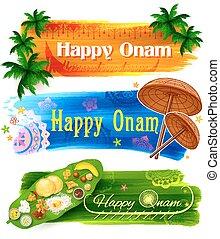 Happy Onam banner - illustration of Happy Onam banner with...