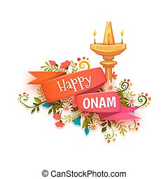 Happy Onam banner with flowers and lamp