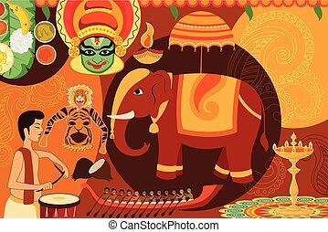 Happy Onam festival celebration background