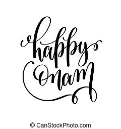 happy onam hand lettering calligraphy holiday quote to ...