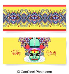 happy onam holiday horizontal greeting card banner design...