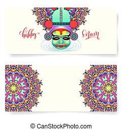 happy onam holiday horizontal greeting card banner design...