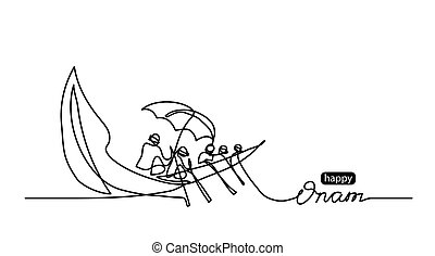 Happy Onam simple vector background with boat. Minimal black and white doodle, sketch illustration. One continuous line drawing with lettering Happy Onam