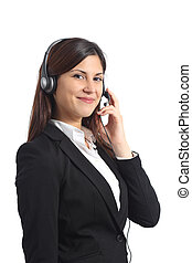 Happy operator posing with headphones isolated on a white...