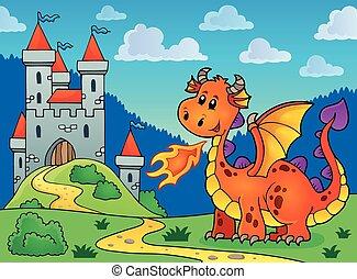 Happy orange dragon near castle