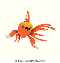 Happy Orange Goldfish Illustration Design