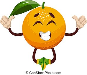 Happy orange, illustration, vector on white background.