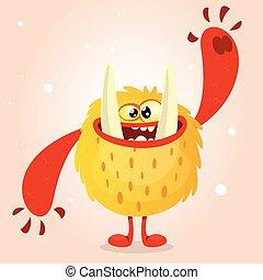 Happy orange monster