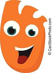 Happy orange monster vector or color illustration