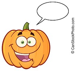 Happy Orange Pumpkin Vegetables Cartoon Emoji Face Character With Expression