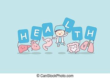 Happy organ cartoon with billboard