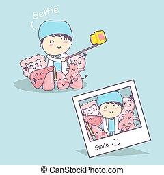 organ cartoon with doctor selfie