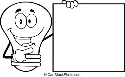 Happy Outlined Light Bulb