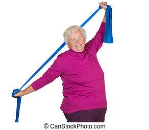 Happy overweight senior exercising - Happy overweight senior...