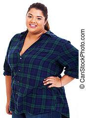 happy overweight teenage girl