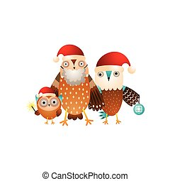 Happy owl family ready for Christmas holiday in santa hats