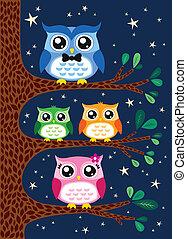 happy owl family