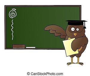 Happy owl teaching in class
