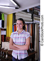 happy owner of fabric store - small business: happy owner of...