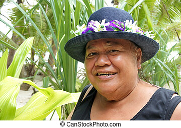 Happy pacific islander woman smiles in Rarotonga, Cook ...