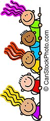 Happy Page Border Kids - Whimsical cartoon illustration of a...