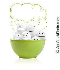 Happy painted eggs in a bowl