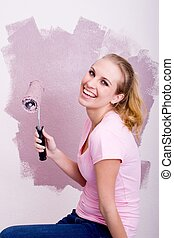 happy painting young adult