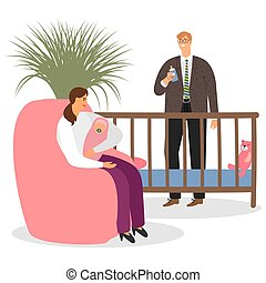 Happy parenthood vector. Mother, father, baby in in the childrens room illustration
