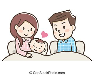 Happy parents and children are lying in bed