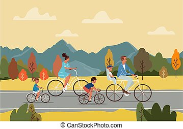 Happy parents and children riding bicycles on asphalt road during trip in autumn countryside vector illustration.