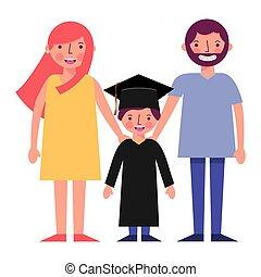 happy parents and school graduate boy